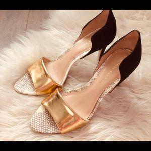 Loeffler Randall Gold & Black Heels